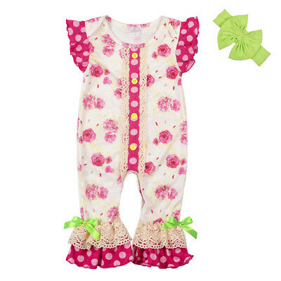 ccb00ed2f49 NEW Boutique Baby Girls Pink Floral Ruffle Romper Jumpsuit Headband Outfit  Set