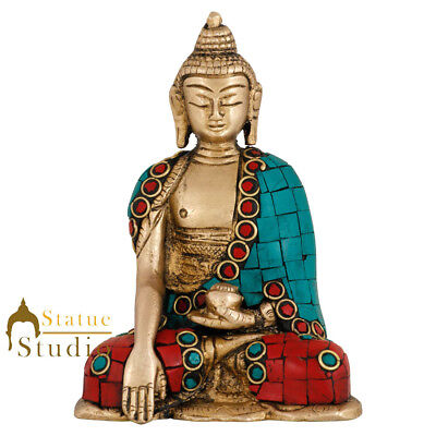 Brass Lord Buddha Mini Corporate Diwali Décor Gift Idol Small Statue Figure 4.5""