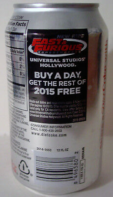 2015 12 oz. DIET  COKE CAN UNIVERSAL STUDIOS ( FAST&FURIOUS )   BOTTOM OPENED