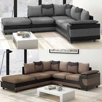 Miraculous Large Corner Sofa Settee Grey Black Or Beige Brown Two Hand Side Couch Stool Uk Interior Design Ideas Skatsoteloinfo