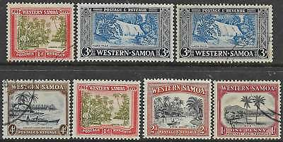 WESTERN SAMOA 1935-52 Pictorial x7 Values VFU & MNH all with SHIFT OF VIGNETTE