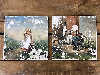 Antique Pair Minton Stoke on Trent  Tiles READ!!DAMAGED-Shabby chic Painted!