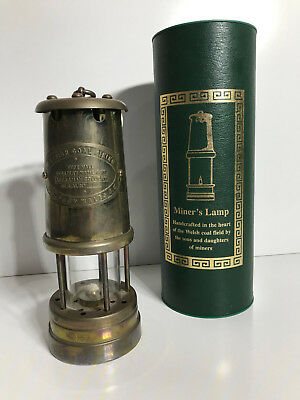 British coal miner's BRASS LAMP Vale type Handcrafted UNUSED in Box + Papers