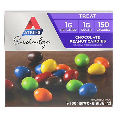 Treat Endulge, Chocolate Peanut Candies, 5 Packs, 1.2 oz (34 g) Each - Atkins
