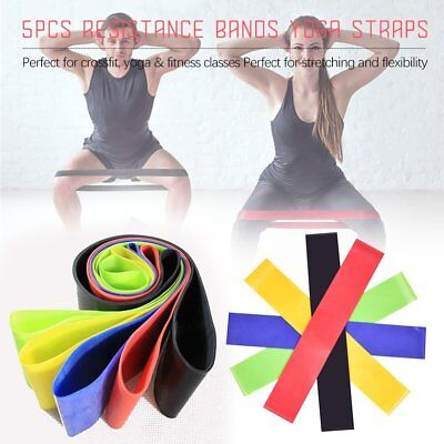 5pcs Resistance Loop Bands Mini Band Exercise Crossfit Strength Fitness GYM 24C