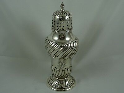LARGE, EDWARDIAN solid silver SUGAR SHAKER, 1901, 229gm