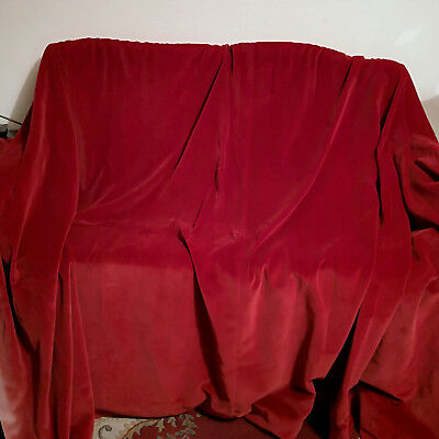 """LOVELY RED PAIR VINTAGE COTTON VELVET CURTAINS-UNLINED-90""""Wx53"""" -SHABBY CHIC"""
