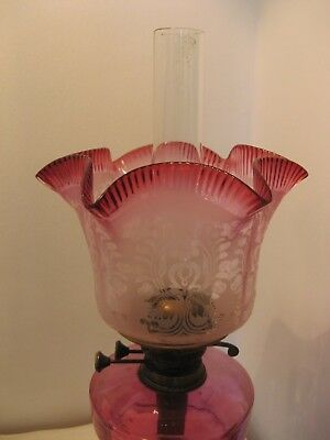ORIGINAL CRANBERRY ETCHED TULIP SHADE for an OIL LAMP.