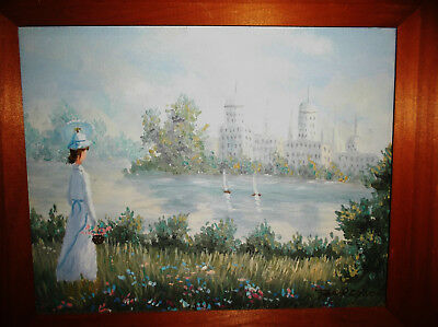 ORIGINAL OIL PAINTING by Jan Reynold Signed in Wooden Frame Woman Lake City
