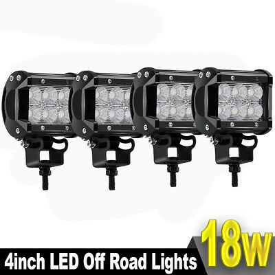 4x 4INCH 18W  LED WORK LIGHT BAR FLOOD OFFROAD UTE REVERSING TRUCK SUV