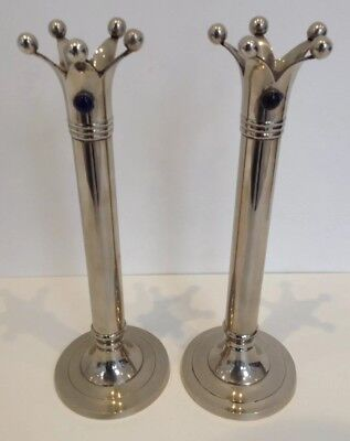 Crown Topped  Crome Candle Sticks. Medieval Jester Crown Silver Candle Sticks.