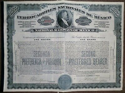 National Railways  Ferrocarriles Nacionales of Mexico 1910,  alle Coupons unc.