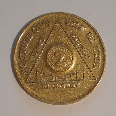 aa aluminum alcoholics anonymous 2 month recovery sobriety coin token medallion