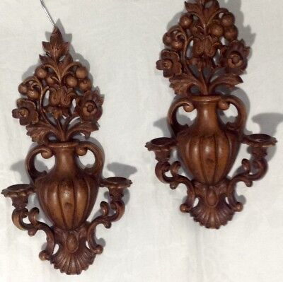 Vintage Pair of Syroco Homco Double Candle Arm Large Ornate Wall Sconces 5130