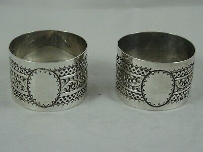 PAIR, solid silver NAPKIN RINGS, 1896, 47gm