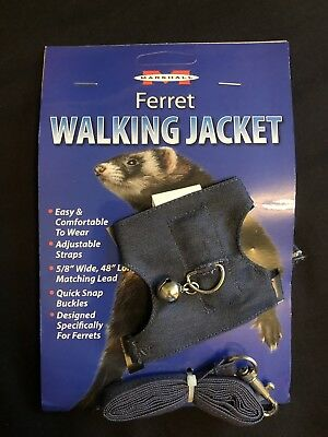 "Marshall Pet Ferret Walking Jacket Harness Denim 5/8 X 48"" U.k. Seller"