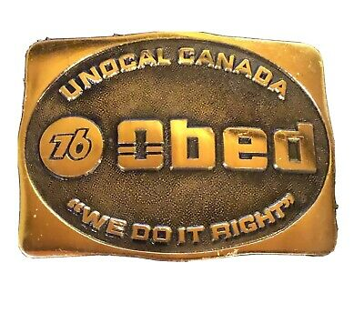 """Union 76 Unocal Canada """"We Do It Right"""" Belt Buckle Vintage Brass OBED Oil & Gas"""