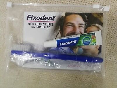 Fixodent Denture Adhesive Travel Flight Size 10g Denture Brush UK Fast Dispatch