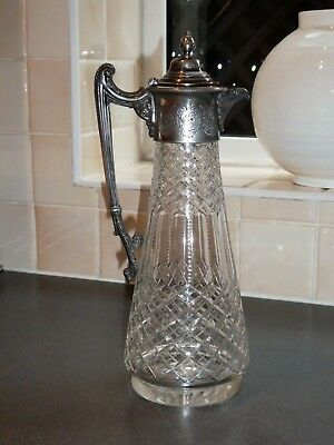 Quality Antique Cut Glass & Silver Plate Claret Jug/ Wine Decanter.15982 Reg No.