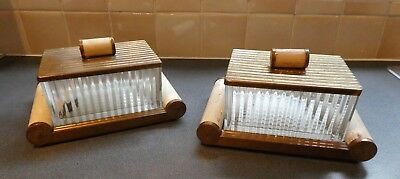 Pair Authentic Art Deco Glass Lidded Odeon design lines boxes, mirror bases A/F