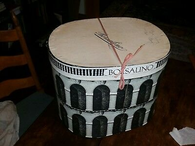 "Large! 1950s-60s Vintage BORSALINO Hat Box Only-12"" Tall COLOSSEUM"