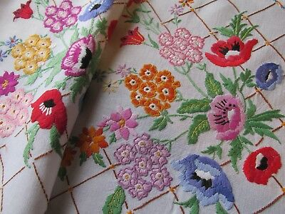 Beautiful Pair of Vintage Hand Embroidered Chair back Panels-FAB FLOWERS
