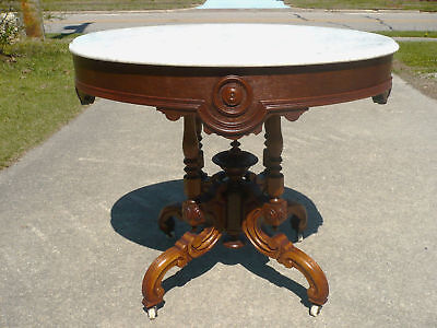 Victorian Rococo Marble Top Center/Lamp Table c 1860