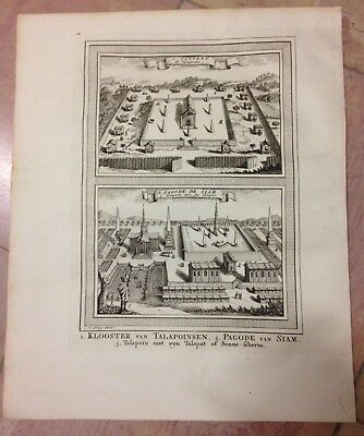Thailand Siam Convent Of Monks 1750 By Nicolas Bellin Nice Antique Engraved View