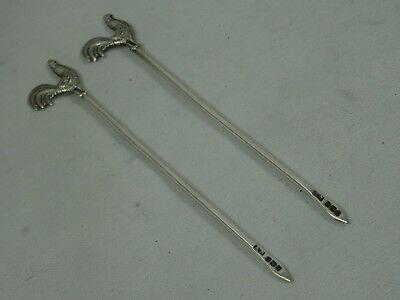 PAIR of  solid silver `COCKEREL` COCKTAIL STICKS, 1928