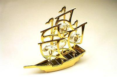 Sail Boat Pirate Ship Figurine 24-K Gold Plated With Austrian Crystal New In Box