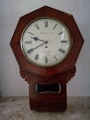 Englsh Fusee Wall Clock.  Drop Dial, Mahogany case, Convex Glass. Circa 1840