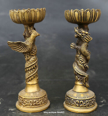 """6.7""""China Bronze Lovable Animal Dragon Phoenix Wealth Candle Holder Candlestick"""