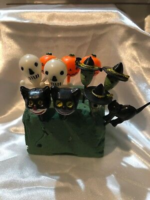 11 Vintage Halloween Cupcake Picks Witch Pumpkin Jack o Lantern Cats