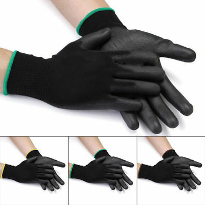 12 Pairs Thin PU Nylon Safety Coating Work Gloves Builders Palm Protect Tool YH
