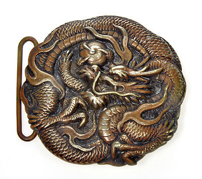 Antique Japan Meiji Bronze Pearl Of Wisdom Dragon Buckle