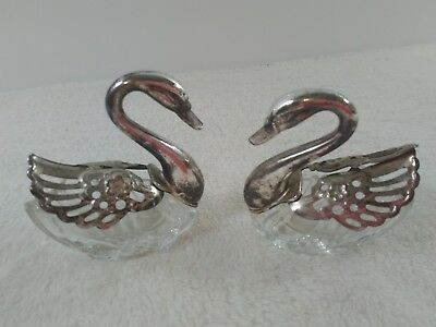 Vintage Pair Of Silver Plated And Crystal Glass Swan Salt Cellars  Italy