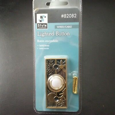 Door Bell Antique Brass lighted button Doorbell solid brass Wired Brand New!!!