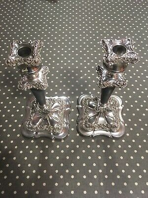 Antique Georgian old Sheffield plate silver candlesticks 10 Inc height 19centry