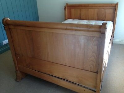 C19 Antique French Solid Chestnut Bed