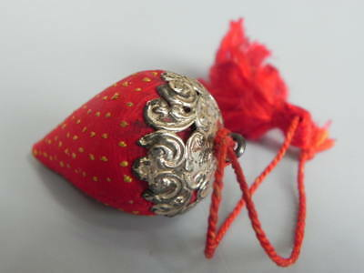 Antique Strawberry Pin Cushion Needle Sharpener With Sterling Silver Top