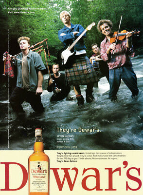 Dewar's Scotch Whiskey print ad 2002 - Seven Nations band in creek