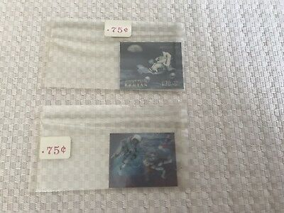 Set Of 2 Bhutan Hologram 3D Space Stamps Unused