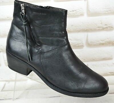 a18b2d2cf9a86 VAGABOND Womens Black Leather Ankle Heeled Boots Shoes Booties Size 6 UK 39  EU