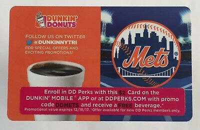 2017  Dunkin Donuts Gift Card. NEW YORK METS. Stadium-Giveaway-Card. Used.
