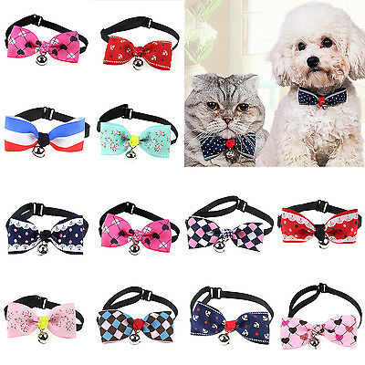 Cute Dog Cat Pet Cute Bow Tie With Bell Adjustable Puppy Kitten Necktie Collar G