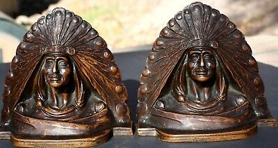 1906 To 1912 Joseph Krupka Indian Chief Solid Bronze Book Ends From B.Altman N.Y
