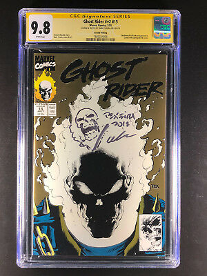 Ghost Rider v2 15 CGC 9.8 sign sketch Mark Texeira 2nd Print Gold Glow in Dark