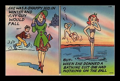 Dr Jim Stamps Us Comic Two Views Of Woman Winter Summer Postcard