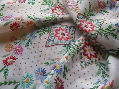 Vintage Hand Embroidered Tablecloth-BEAUTIFUL FLORAL'S WITH LACE EDGING