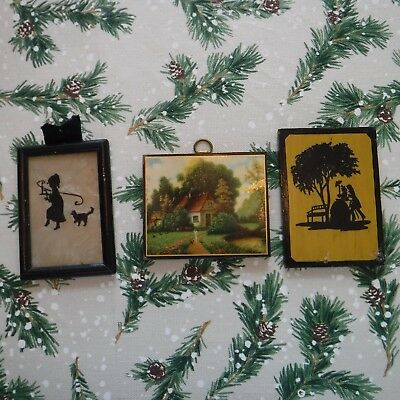 3 Antique Small Pictures - 2 Silhouettes & 1 Country Cottage Scene (1930s)